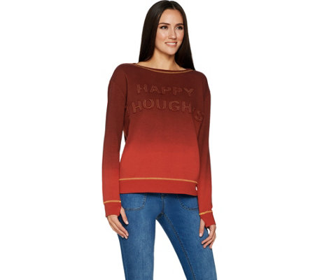 Peace Love World Dip Dye Knit Top with Affirmation