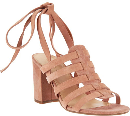 """As Is"" Marc Fisher Suede Ankle Wrap Sandals - Pheobe"