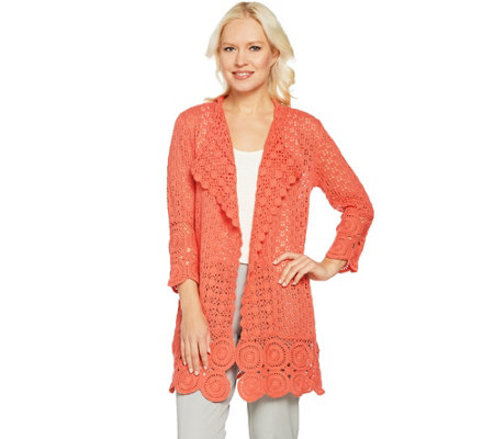 """As Is"" Isaac Mizrahi Live! Crochet Open Front 3/4 Sleeve Cardigan"