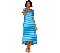 Isaac Mizrahi Live! Striped Cold Shoulder Hi-Low Maxi Dress - A303181