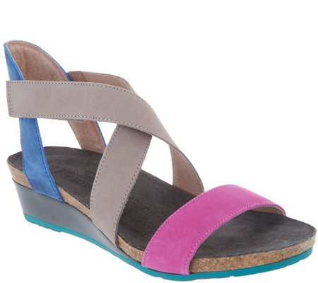 Naot Leather Cross Strap Wedge Sandals - Vixen