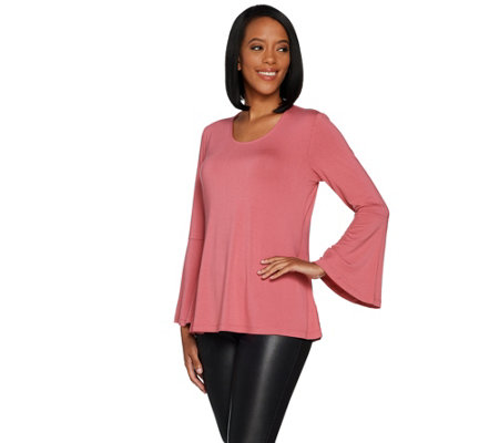 """As Is"" H by Halston Scoop Neck Bell Sleeve Top"
