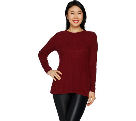 """As Is"" H by Halston Crewneck Directional Rib Peplum Sweater"