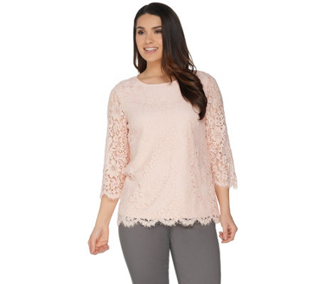 Martha Stewart Crew Neck 3/4 Sleeve Floral Lace Top