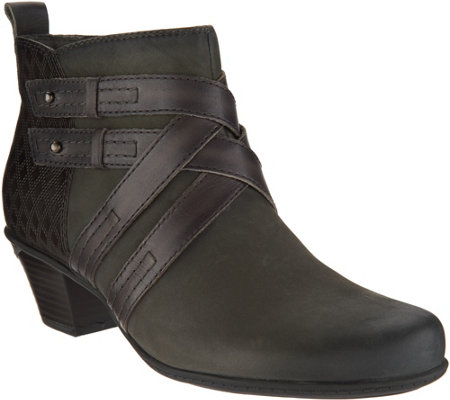 """As Is"" Earth Leather Multi-Strap Ankle Boots- Emerald"