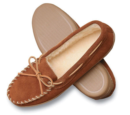 Minnetonka Men's Suede Pile Lined Hardsole Slippers