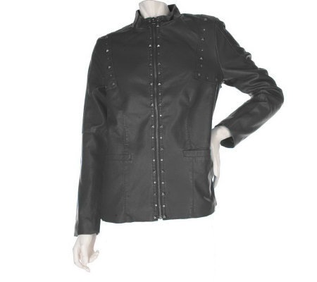 Susan Graver Faux Leather Zip Front Jacket with Stud Details