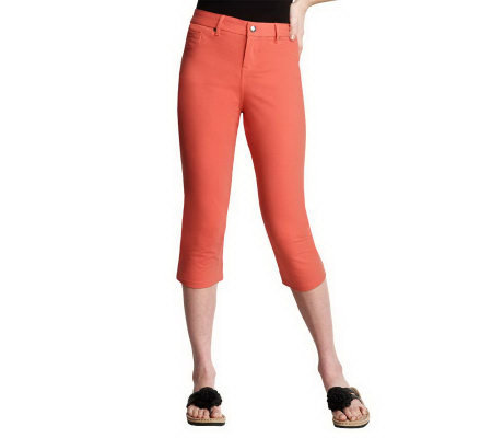 Women with Control Fly Front Capri Pants