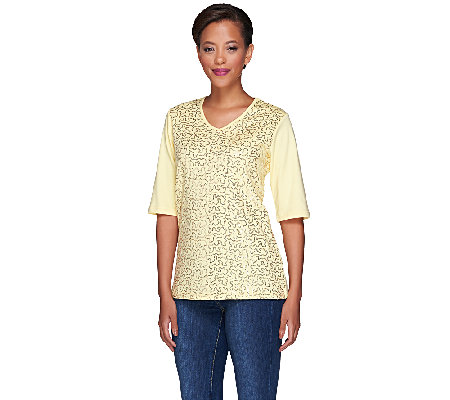 Quacker Factory Sequin Front Elbow Sleeve V-neck T-shirt