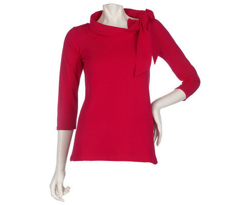 Dennis Basso Stretch Knit 3/4 Sleeve Top with Bow Detail