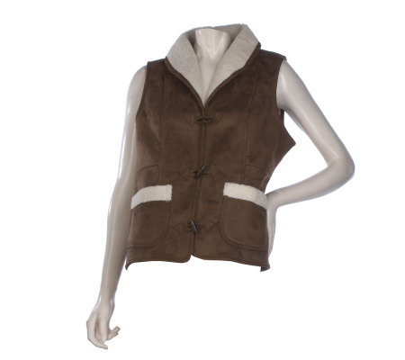Susan Graver Faux Shearling Toggle Button Vest with Shawl Collar