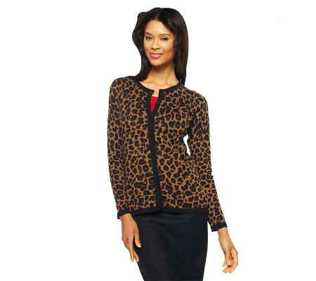 Dennis Basso Leopard Print Crew Neck Cardigan with Solid Trim