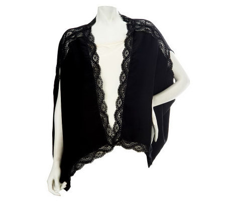 Nicole Richie Collection Open Front Cardigan with Lace Trim