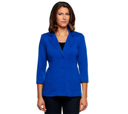 Linea by Louis Dell'Olio Button Front Ponte Knit Seamed Jacket