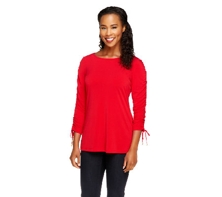 Susan Graver Liquid Knit Bateau Neck Top with Ruched Sleeves