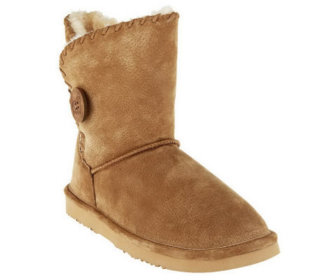 Lamo Suede Water Resist. Ankle Boots w/ Faux Fur Lining - Snowmass