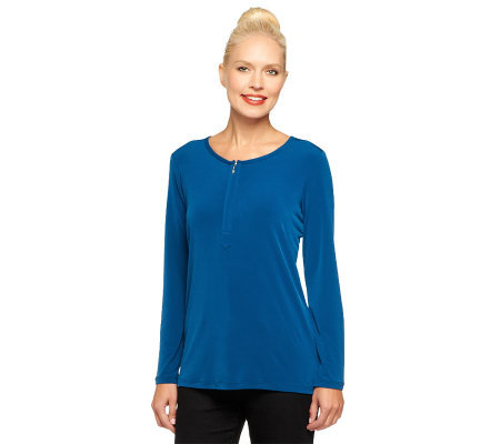 Susan Graver Liquid Knit Half Zip Top with Long Sleeves