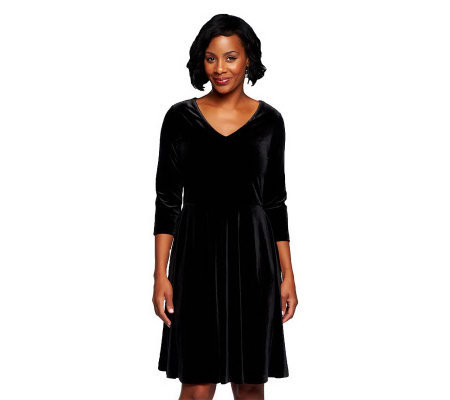 Isaac Mizrahi Live! 3/4 Sleeve Knit Velvet Dress