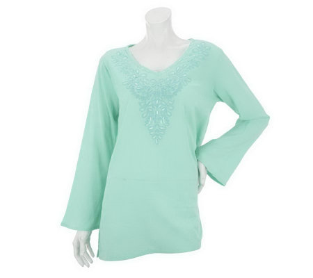 """As Is"" Susan Graver Solid Crinkled Cotton Gauze V-neck Tunic"