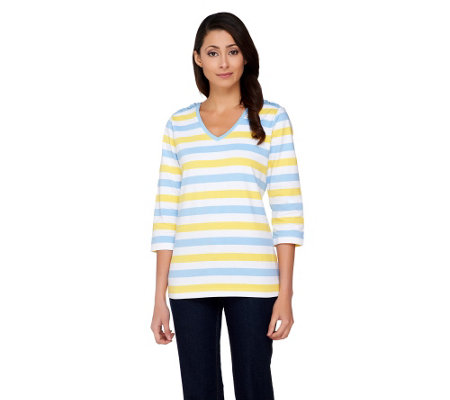 Denim & Co. Perfect Jersey Striped Top with Shoulder Detail