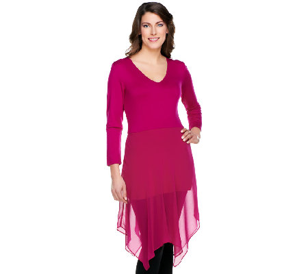 Linea by Louis Dell'Olio 3/4 Sleeve Tunic with Chiffon Detail