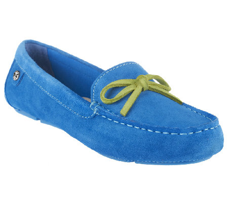 Isaac Mizrahi Live! Suede Moccasins with Contrast Bow