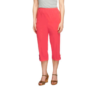 "Denim & Co. ""How Timeless"" Petite Jean Capris with Tab Detail - A252482"