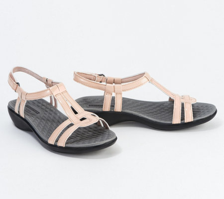 Clarks Patent T-Strap Sandals - Sonar Aster