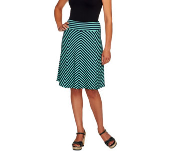 George Simonton Regular Crepe Knit Striped Skirt with Panels - A253682