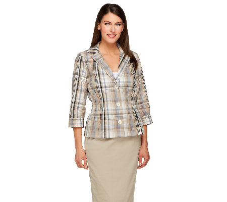 Joan Rivers Madras Plaid Signature Jacket with 3/4 Sleeves