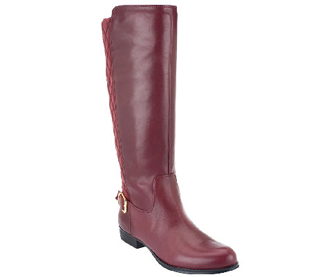 Isaac Mizrahi Live! Medium Calf Leather Quilted Riding Boots ...