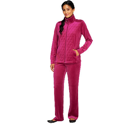 Denim & Co. Active Petite Velour Jacket & Pants Set with Quilting Detail