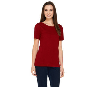 Linea by Louis Dell'Olio Whisper Knit Jewel Neck Shirt - A257382