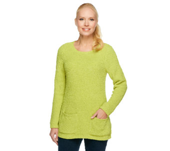 """As Is"" Susan Graver Cozy Knit Sweater w/ Long Sleeves & Pockets - A257482"