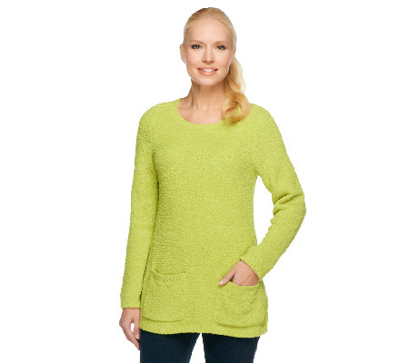 """As Is"" Susan Graver Cozy Knit Sweater w/ Long Sleeves & Pockets"