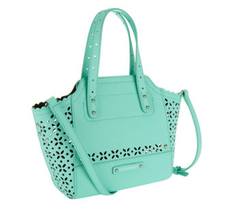 As Is B Makowsky Perforated Saffiano Mini Leather Tote A258182