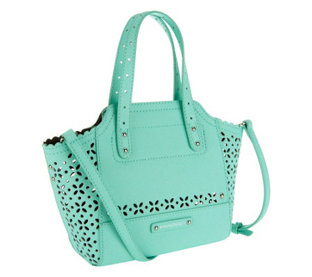 """As Is"" B. Makowsky Perforated Saffiano Mini Leather Tote"