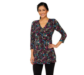 Attitudes by Renee Printed Mock Wrap Tunic - A259982