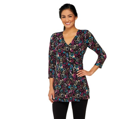 Attitudes by Renee Printed Mock Wrap Tunic