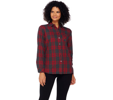 Denim & Co. Brushed Cotton Plaid Shirt