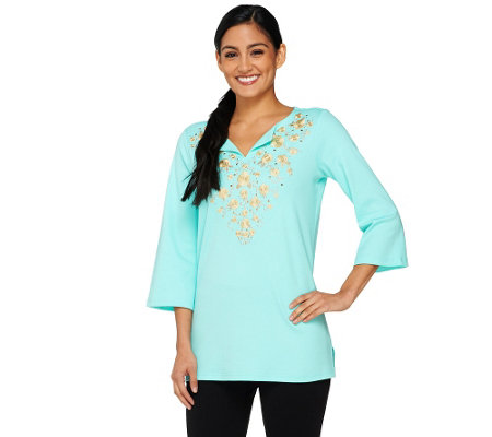 Quacker Factory Golden Floral Embroidered Tunic with 3/4 Sleeves