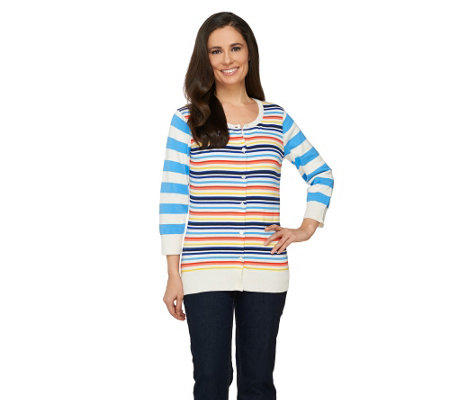Liz Claiborne New York Mixed Stripe Cardigan