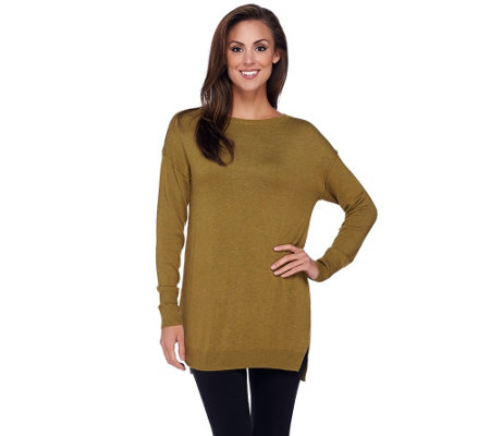 H by Halston Pullover Sweater Tunic with Hi-Low Hem
