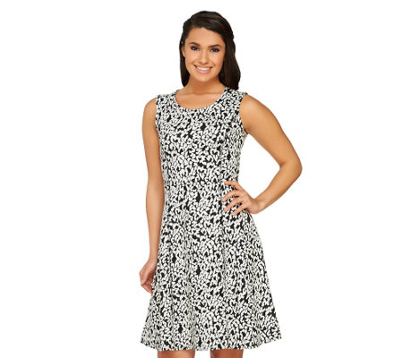 GK George Kotsiopoulos Printed Jacquard Fit & Flare Dress