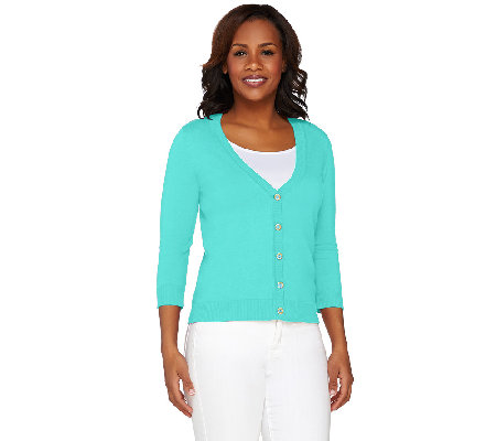 Isaac Mizrahi Live! Essentials 3/4 Sleeve V-Neck Cardigan