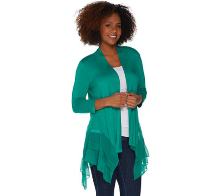 LOGO by Lori Goldstein Petite Knit Cardigan with Pleated Chiffon