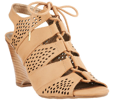 Me Too Leather Tie Front Perforated Wedges - Basil