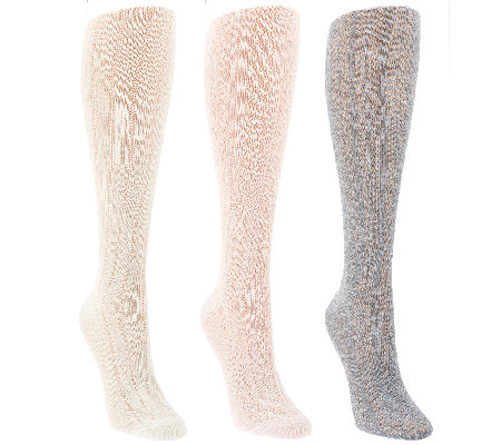 Tashon Pointelle Knit Knee High Boot Socks Set of Three