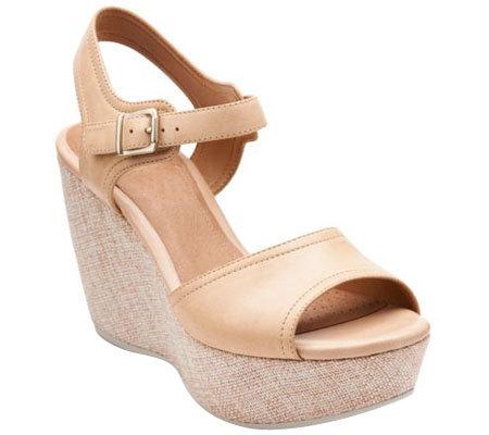 Clarks Artisan Leather Wedges w/ Adj. Ankle Strap - Nadene Lola