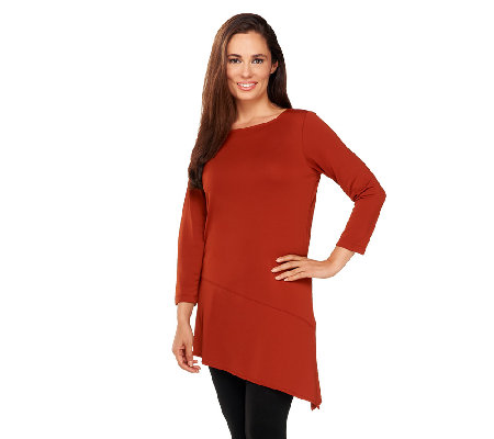 """As Is"" Susan Graver Premier Knit Boat Neck Tunic with Angled Hem"